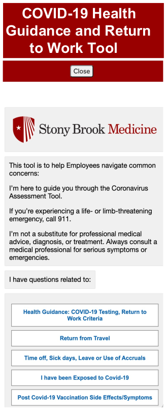 COVID-19 Health Guidance and Return to Work Tool